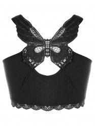 Плюс Размер Butterfly Appliqued Ribbed Tank Top -