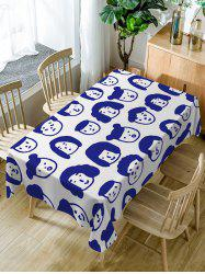 Waterproof Cartoon Family Head Print Table Cloth -