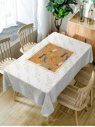 Animal Zoo Print Waterproof Fabric Table Cloth -