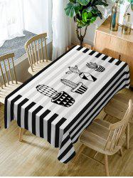 Cacti Flowerpot Stripe Print Waterproof Dining Table Cloth -