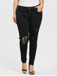 Plus Size Lace Trim Destroyed Jeans -