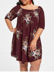 Plus Size Smocked Trim Floral Babydoll Dress -