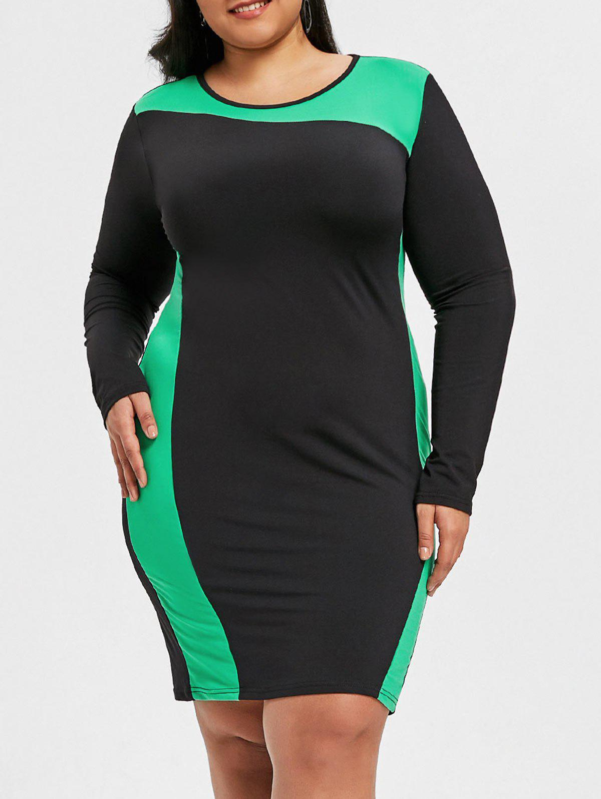 Trendy Hit Color Plus Size Tight Dress
