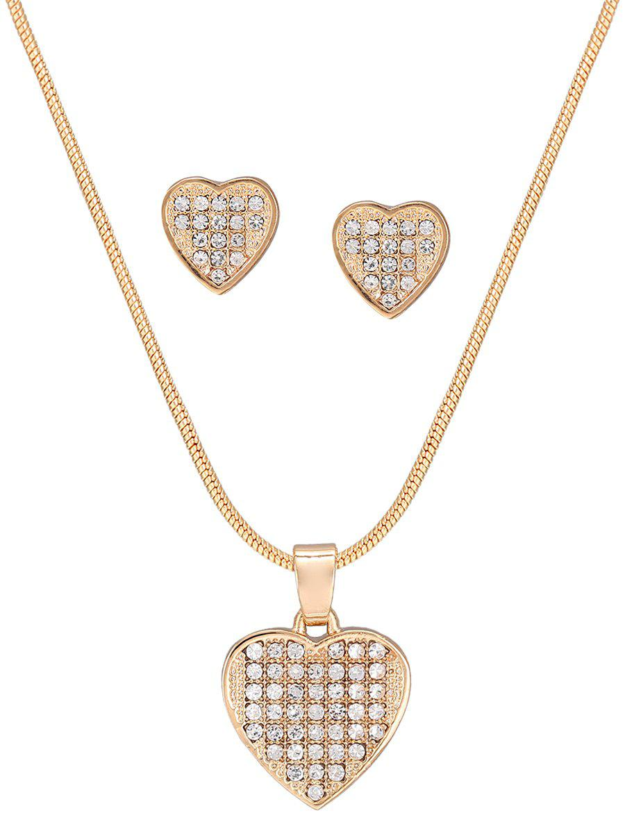 Trendy Diamante Heart Pattern Pendant Necklace and Earrings Set