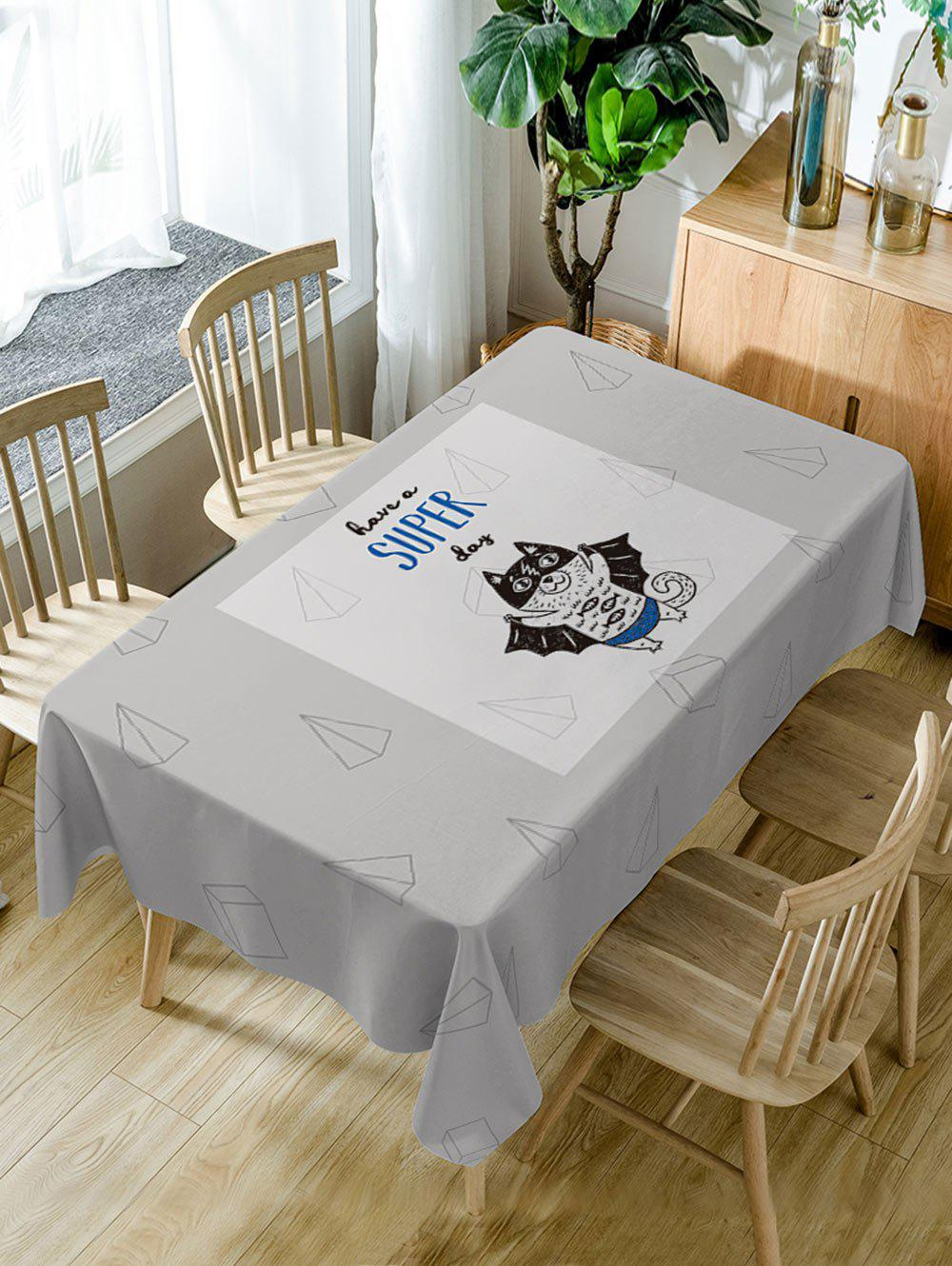 Outfits A Flying Cat Letter Print Fabric Table Cloth