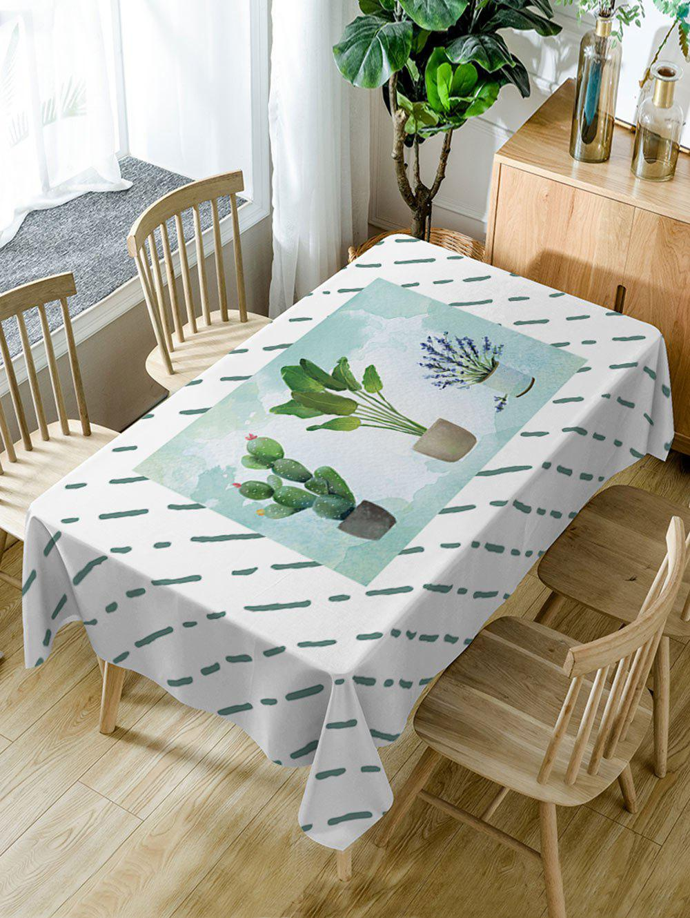 Affordable Waterproof Cacti Flowerpot Print Table Cloth
