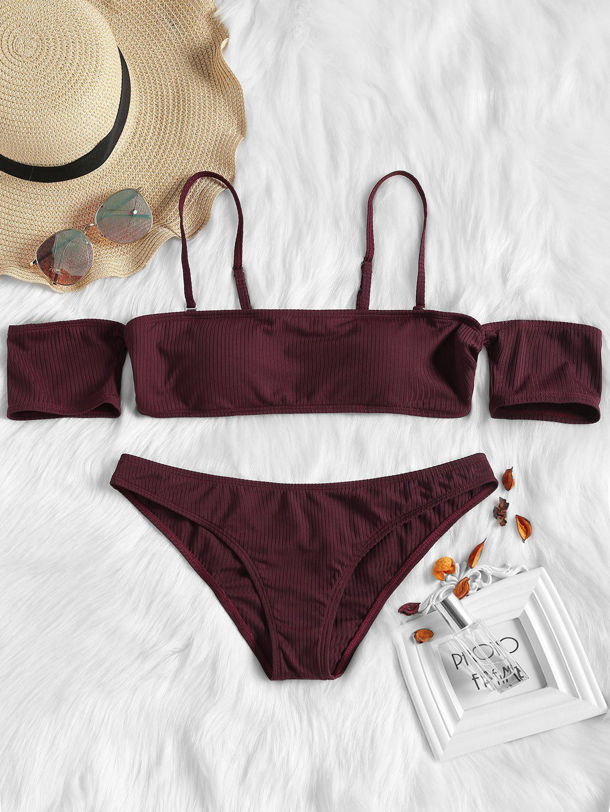 Outfit Off The Shoulder Crop Bikini Set
