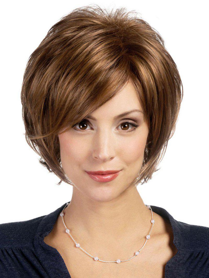 Best Short Side Bang Colormix Layered Slightly Curly Synthetic Wig