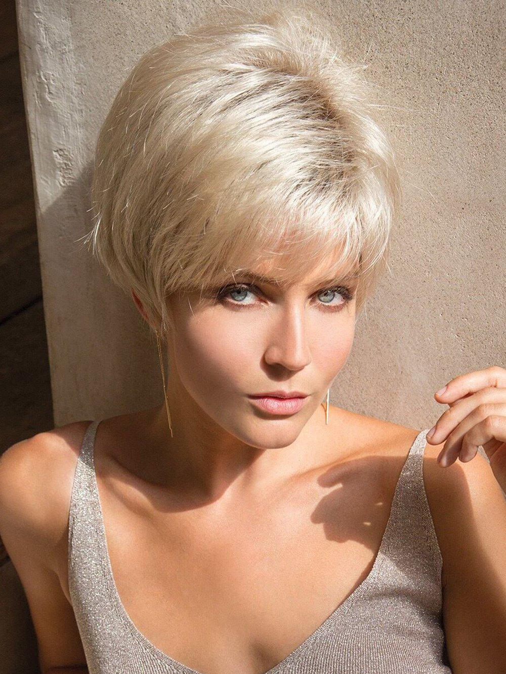 Buy Short Side Bang Layered Straight Colormix Party Synthetic Wig