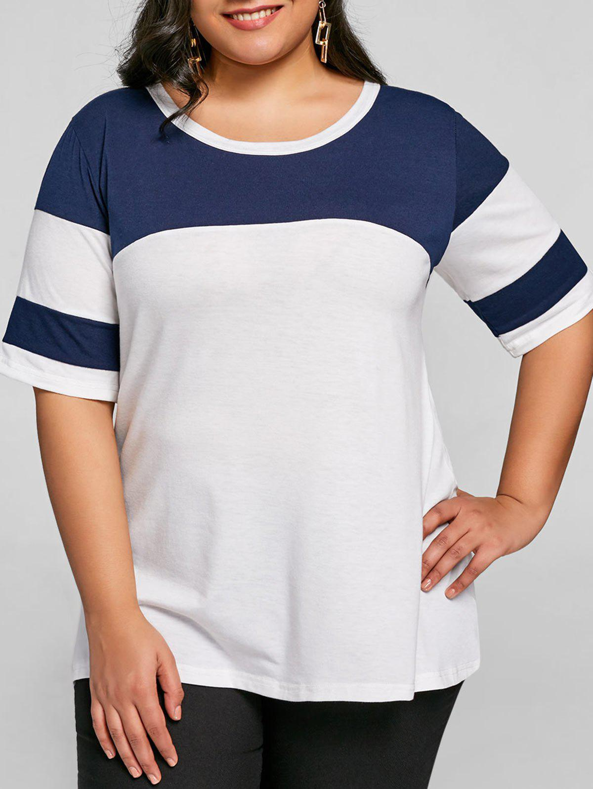 28cb0ceef28 2019 Plus Size Color Block Tunic T-shirt | Rosegal.com