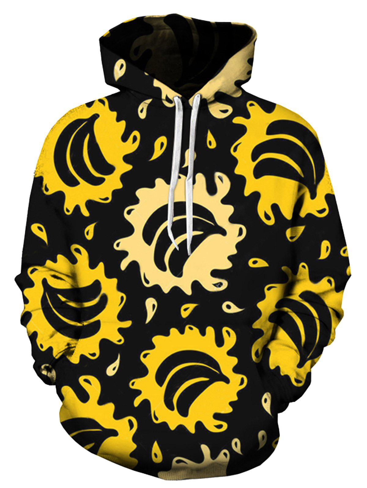 Latest Pocket Bananas Splatter Printed Hoodie
