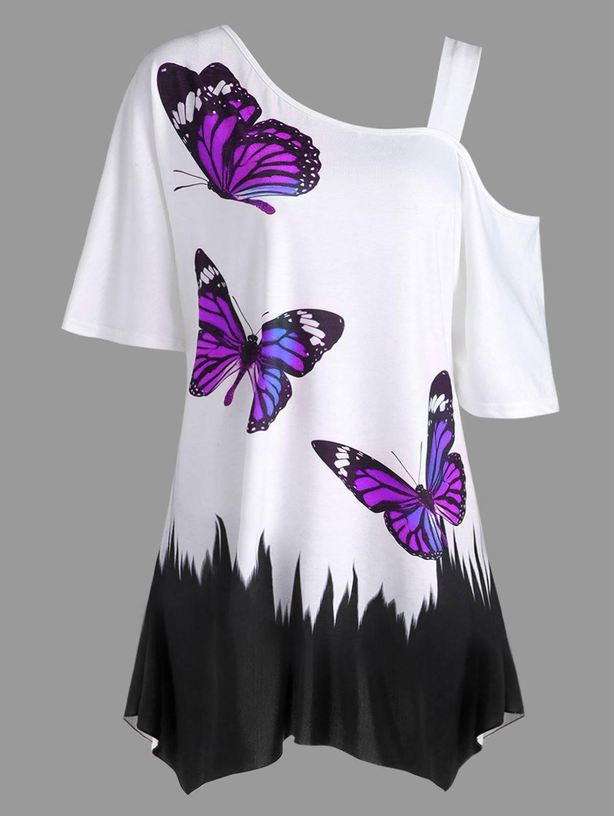 Store Plus Size Butterfly Print Tunic T-shirt