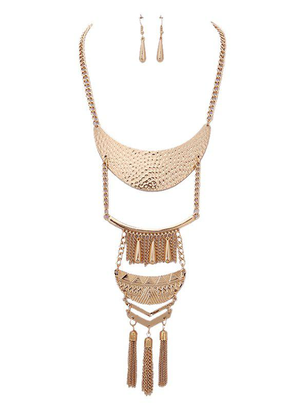 New Alloy Teardrop Fringed Chain Necklace and Earring Set