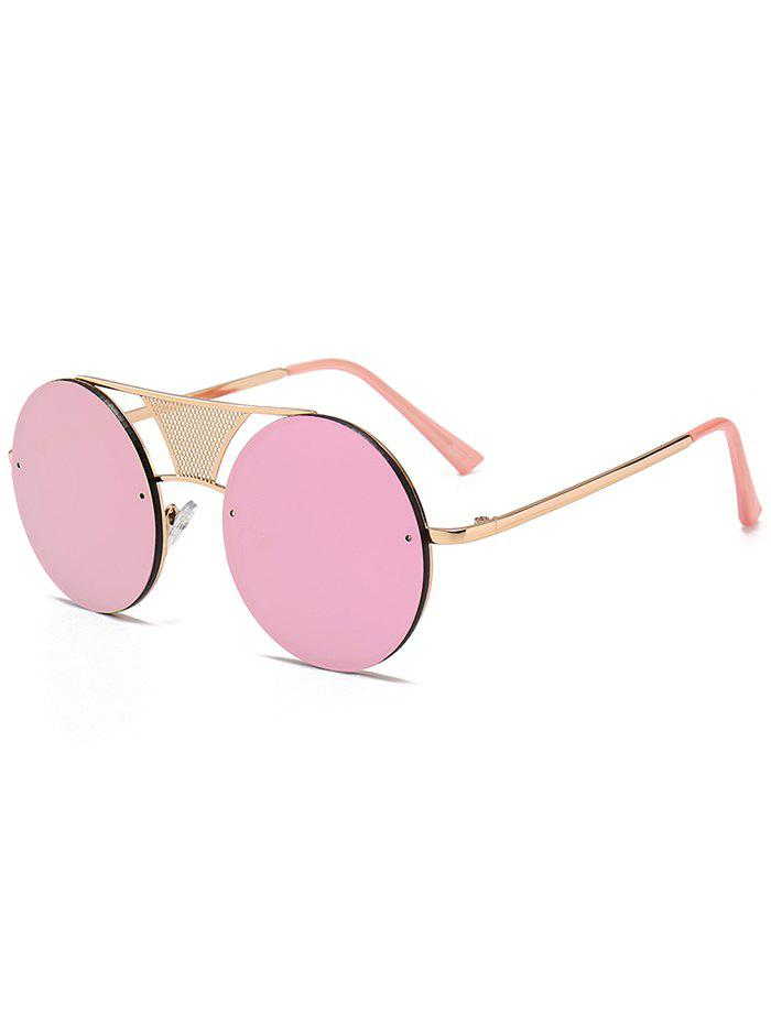Trendy Unique Hollow Out Metal Bar Round Sunglasses
