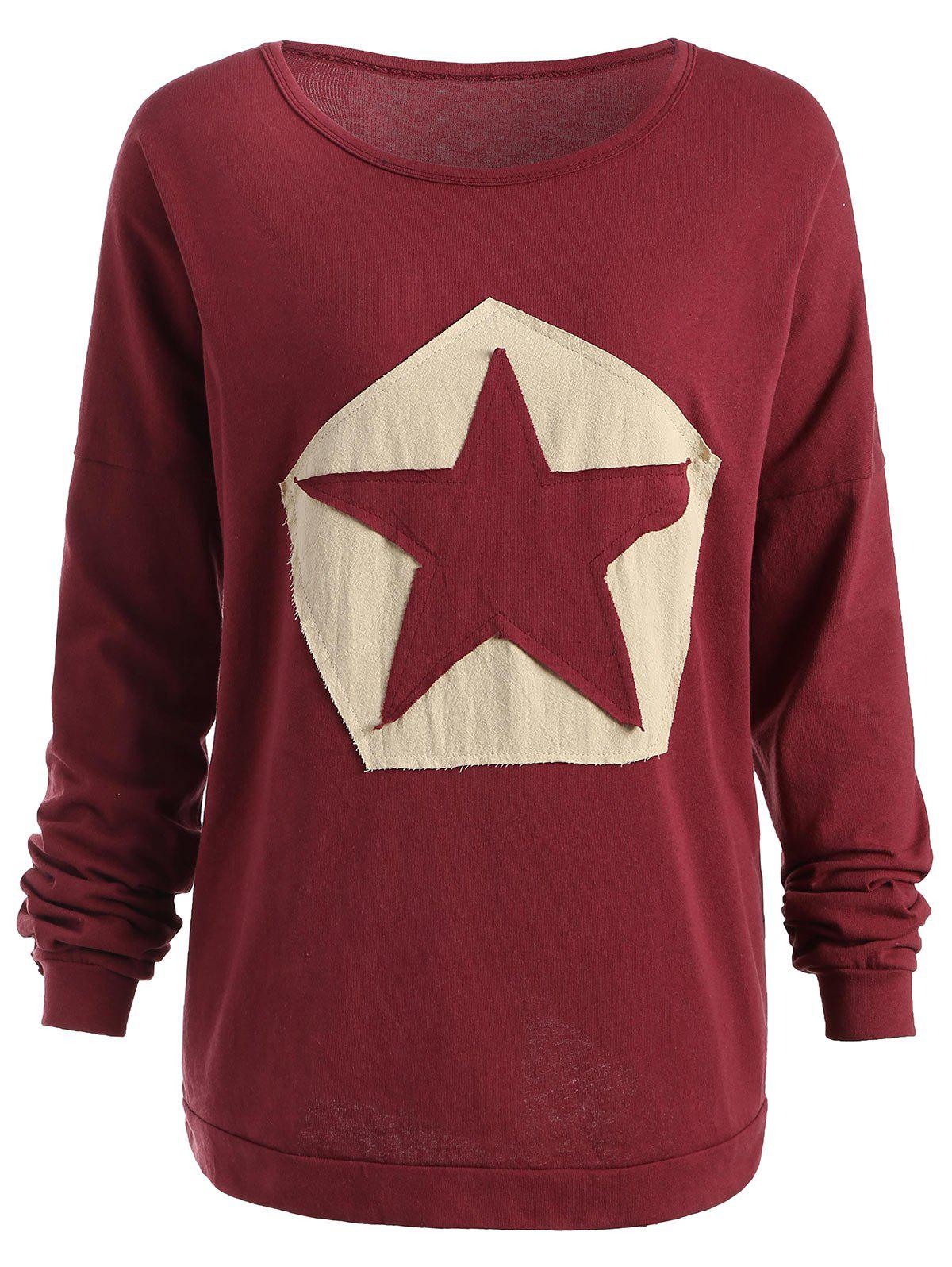 Sale Plus Size Star Patchwork Long Sleeve T-shirt