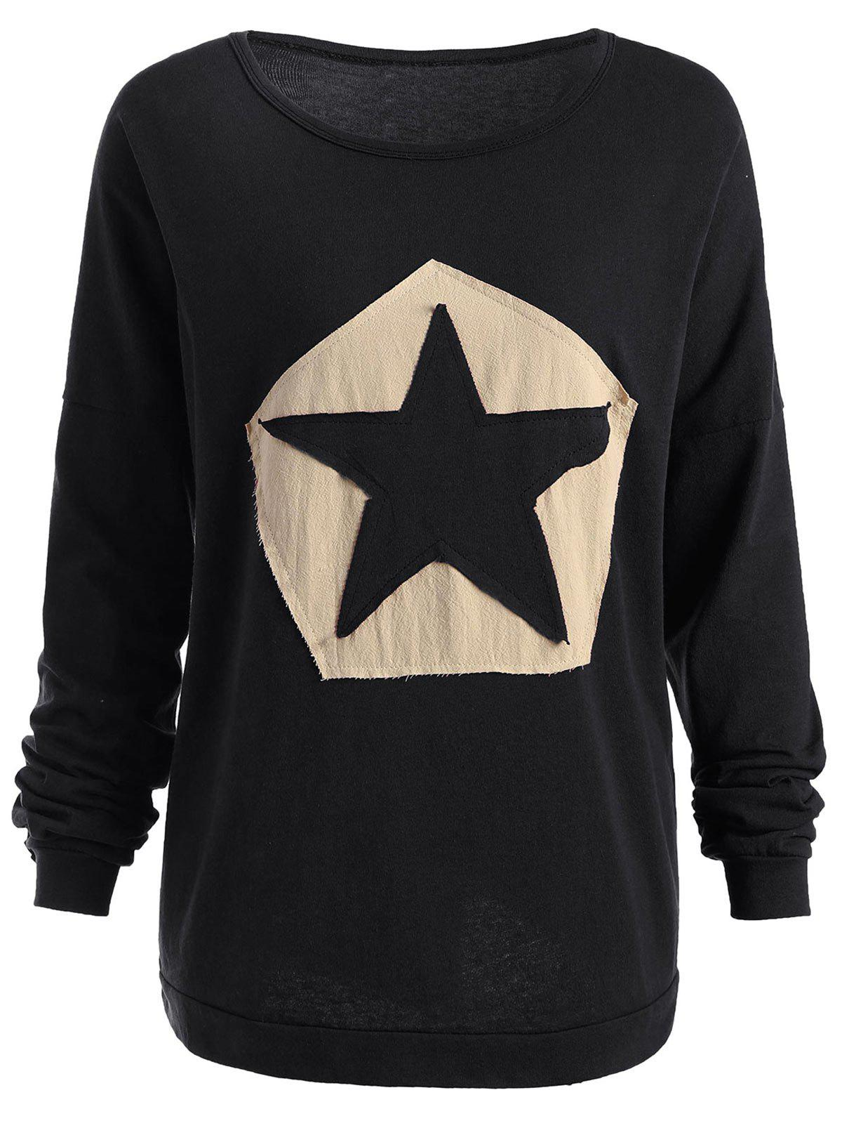 Outfit Plus Size Star Patchwork Long Sleeve T-shirt