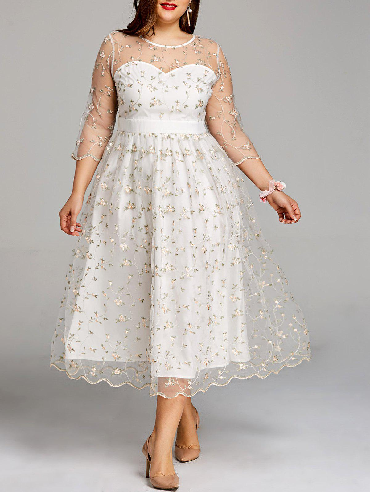 Discount Plus Size Embroidery Floral Tulle Tea Length Dress