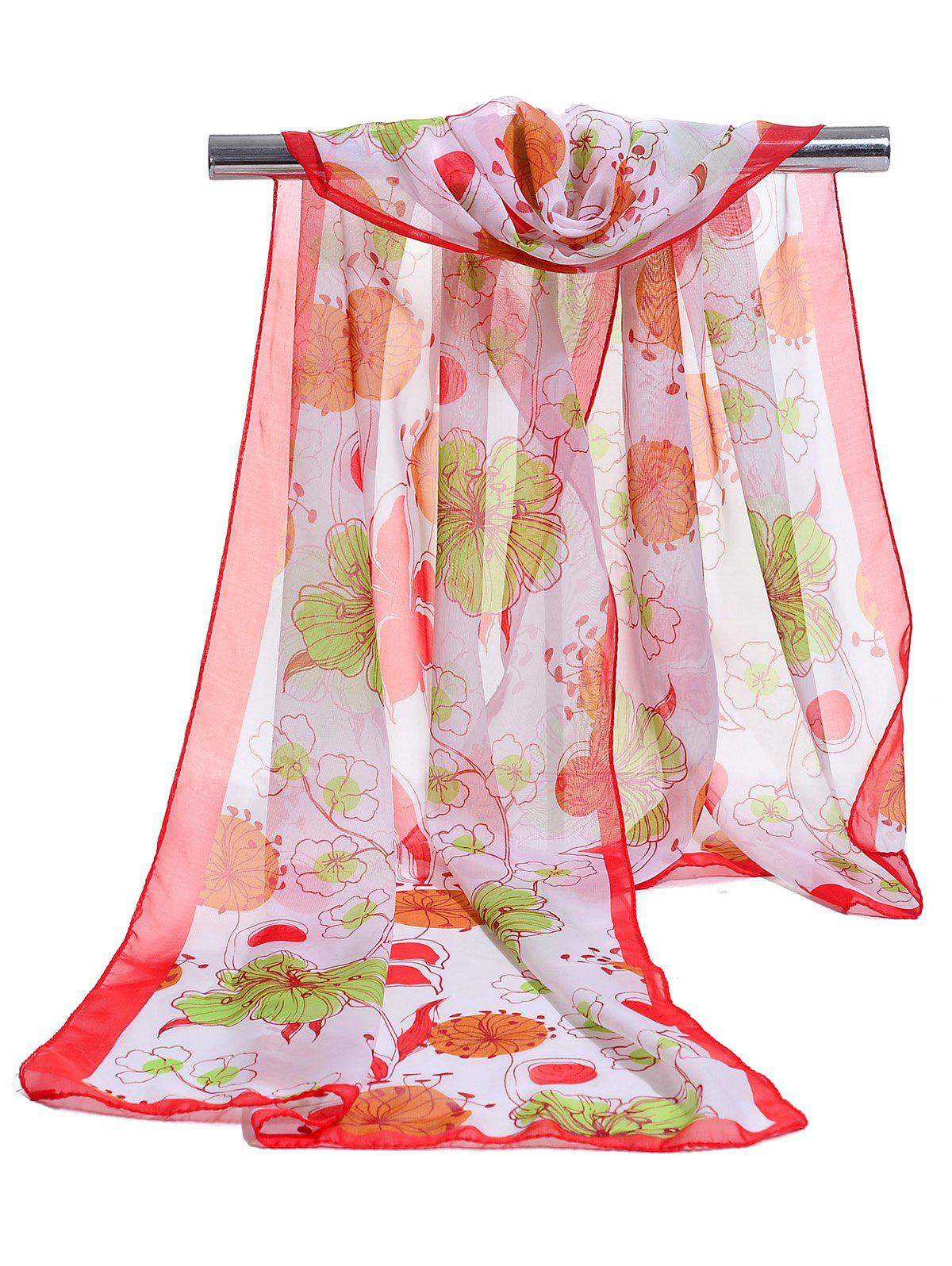 Fashion Blooming Floral Pattern Spring Fall Scarf