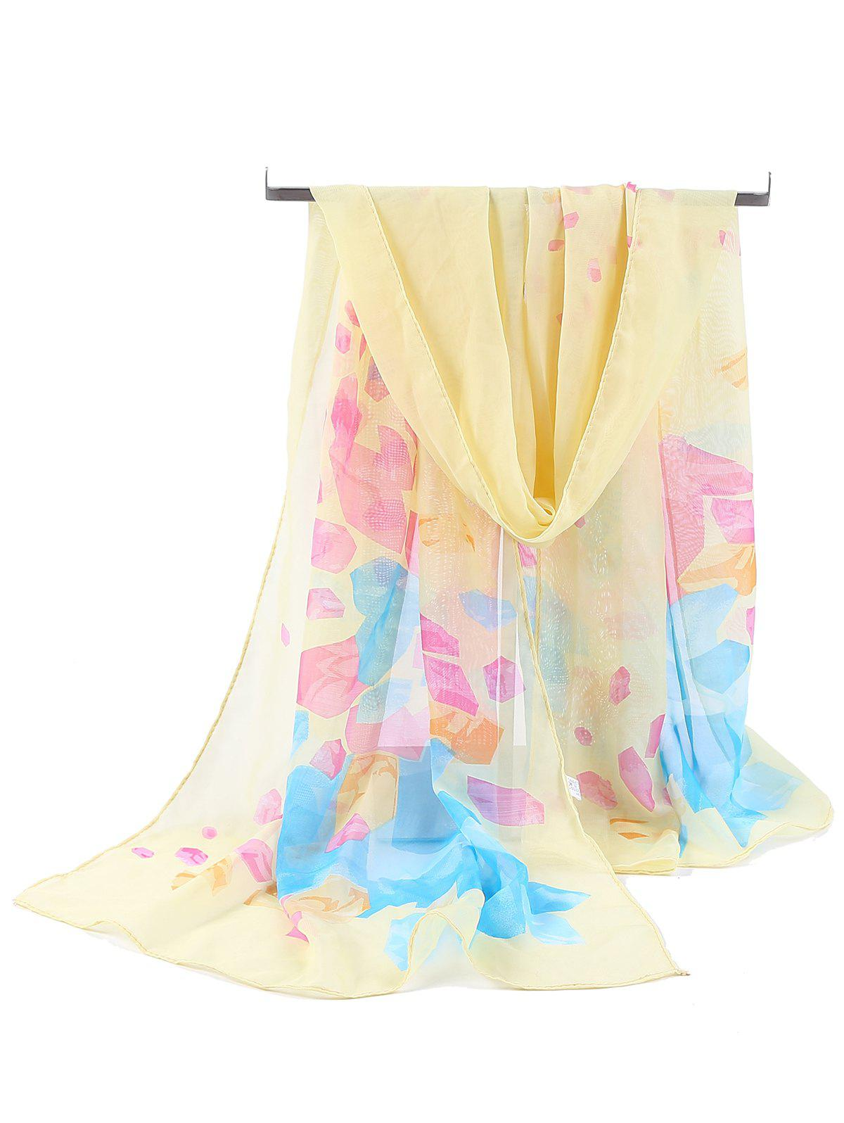 Shops Floral Pattern Printed Soft Chiffon Scarf