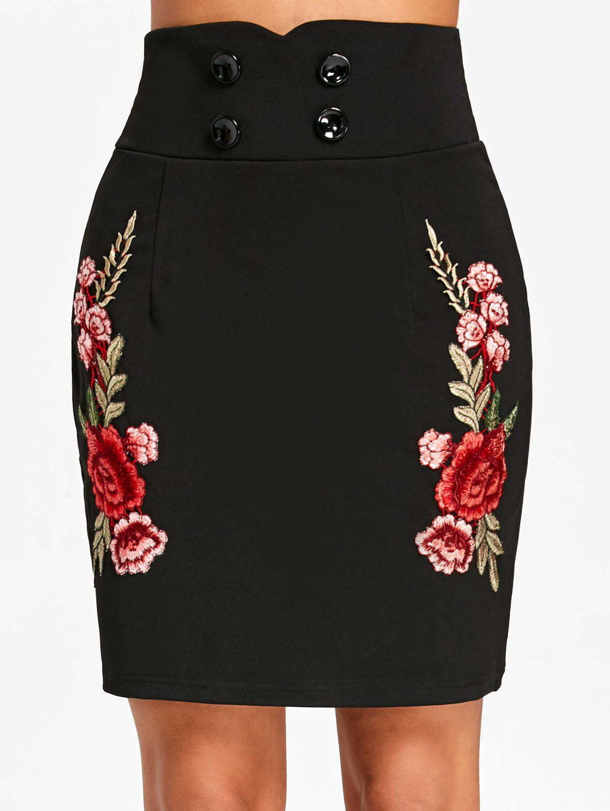 Latest Flower Applique High Waist Skirt