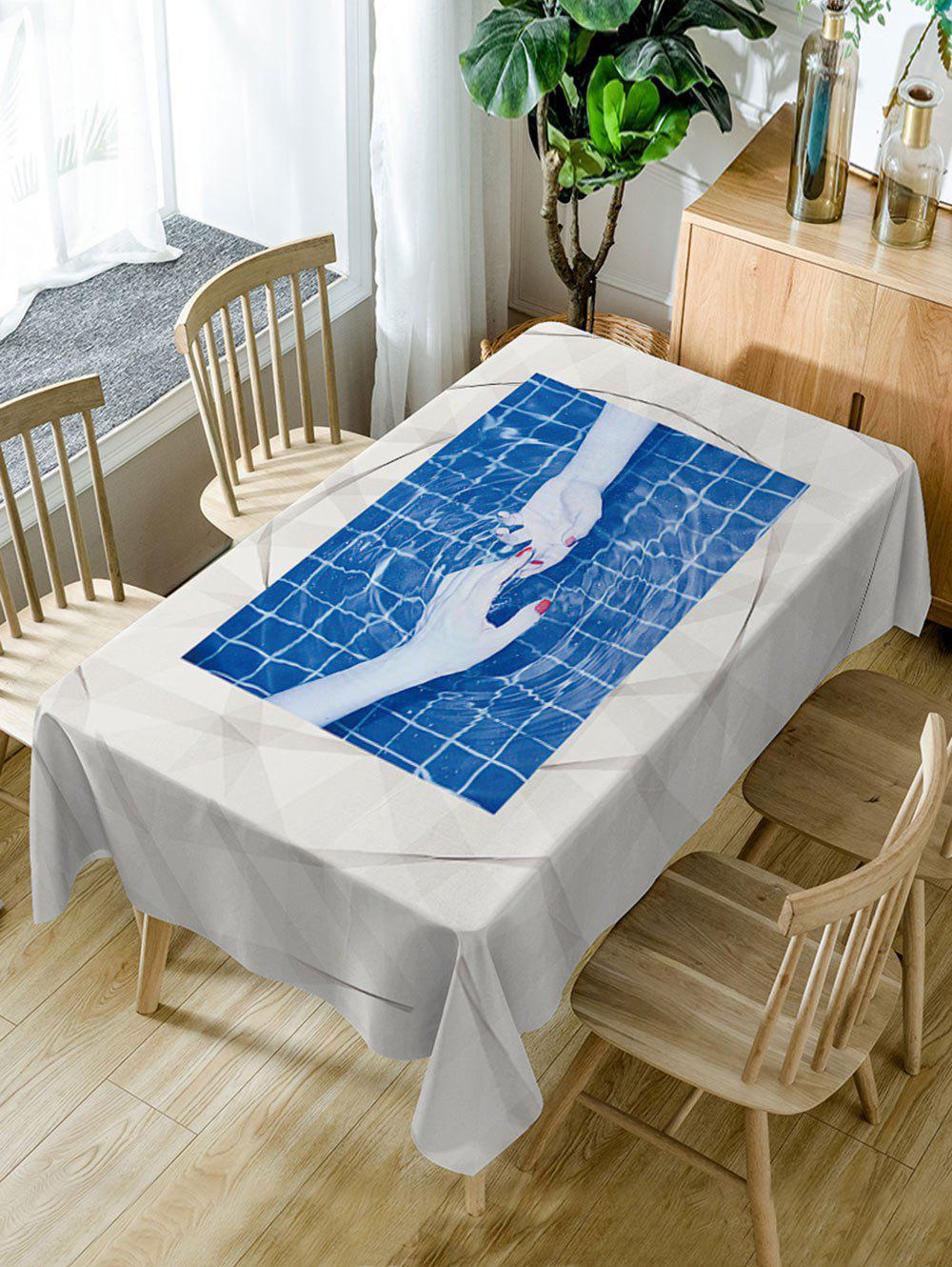Discount Hand In Hand Print Waterproof Dining Table Cloth