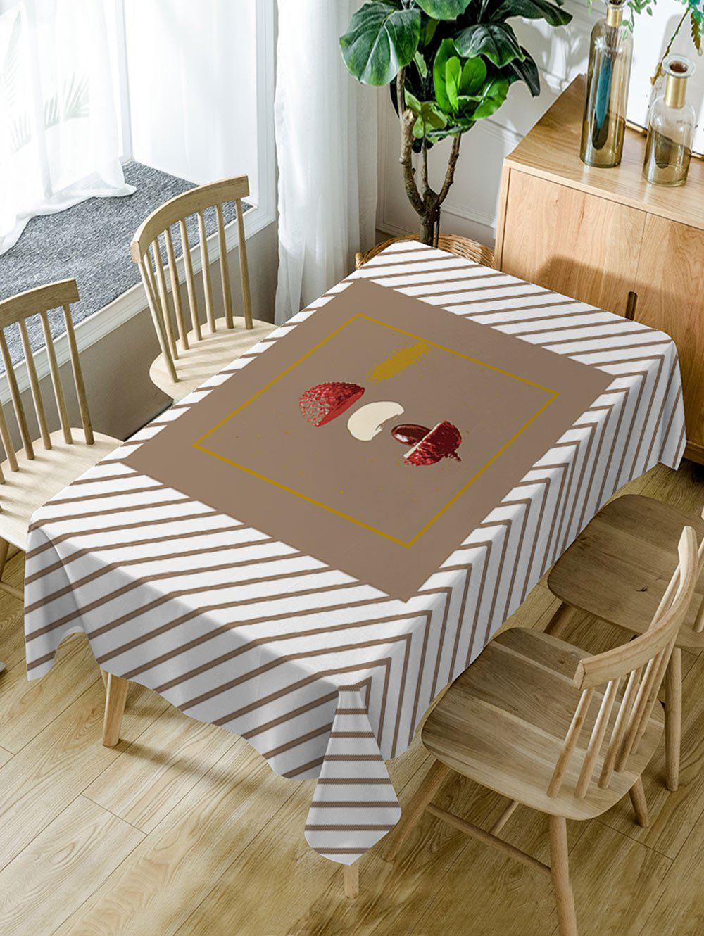 Store Litchi and Stripe Print Waterproof Dining Table Cloth