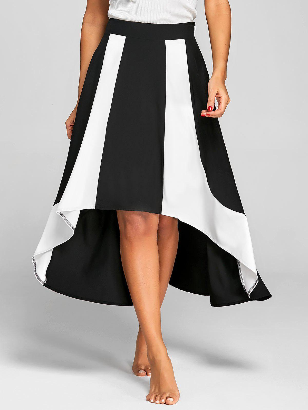High Low Color Block A Line Skirt, White and black