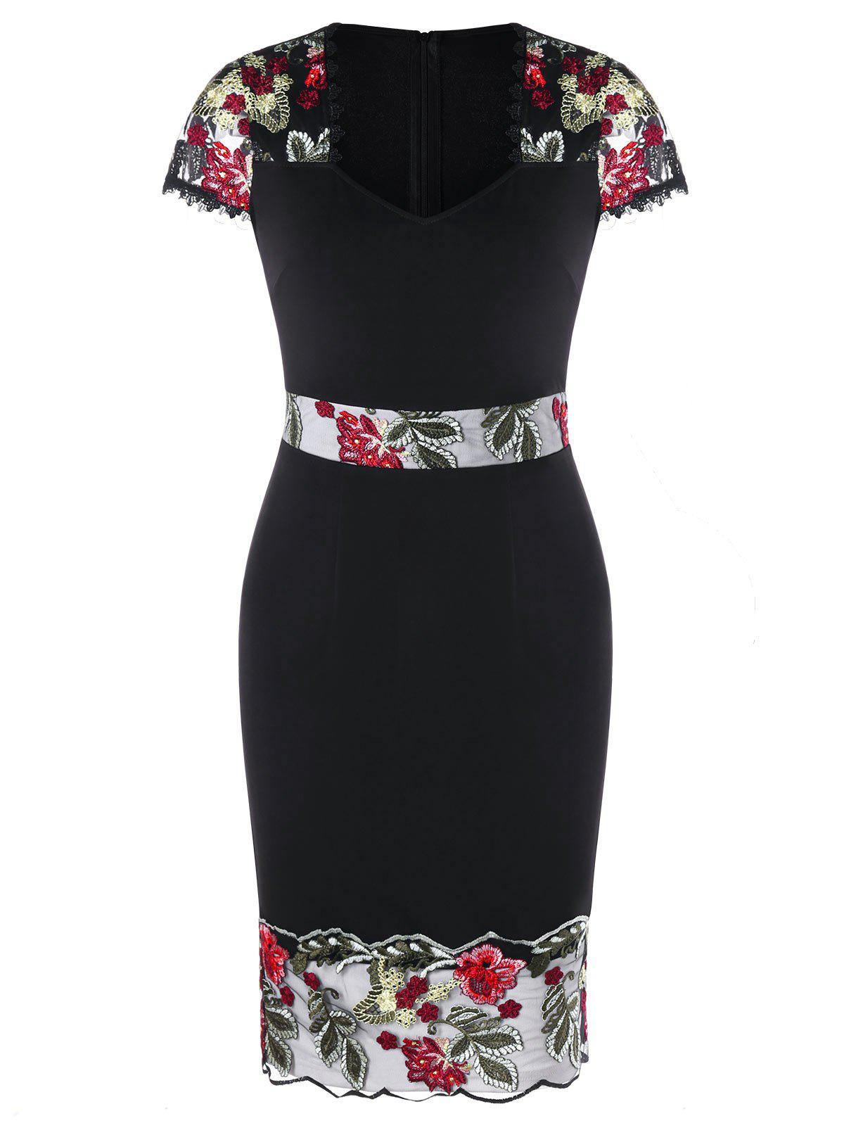 Outfit V Neck Embroidered Sheath Dress