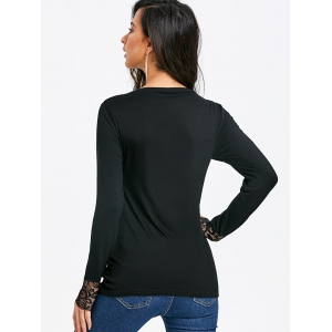 Lace Panel Long Sleeve T-shirt -