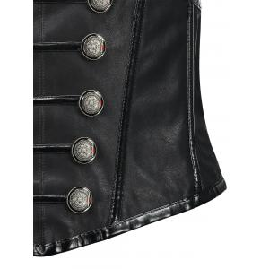 Buttoned Faux Leather Cincher Corset -