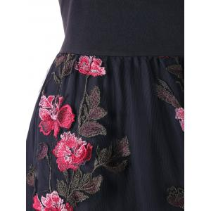 Plus Size Embroidery Appliqued Floral Swing Dress -