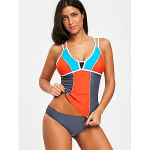 Lace Panel Strappy Tankini Set -