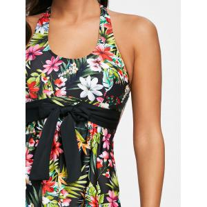 Tropical Floral Bowknot Embellished Tankini Set -