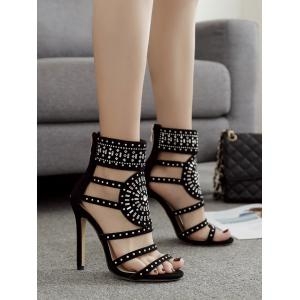 Rhinestone Embellished High Heel Gladiator Sandals -