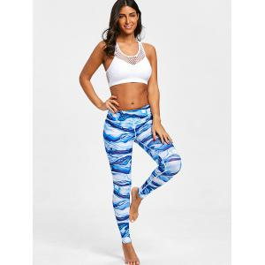 Ocean Waves Print Elastic Waist Workout Leggings -