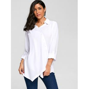 Button Up Crossover Asymmetric Blouse -