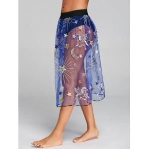 Embroidered Mesh Sheer Cover Up Skirt -