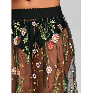 Mesh Floral Embroidery Cover Up Skirt -