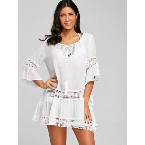 Crochet Trimmed Flare Sleeve Cover Up Dress -