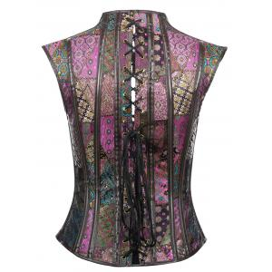 Vintage Jacquard  Waist Cincher Cut Out Court Corset -