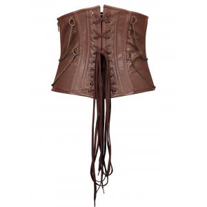 Rivets Chain Embellished Steam Punk Underbust Corset -