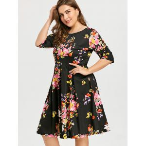 Flower Plus Size Vintage Skater Dress -