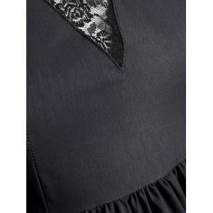 Plus Size Swan Painting Lace Trim Dress -