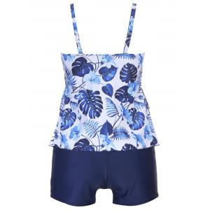 Flounce Plus Size Leaves Print Tankini -