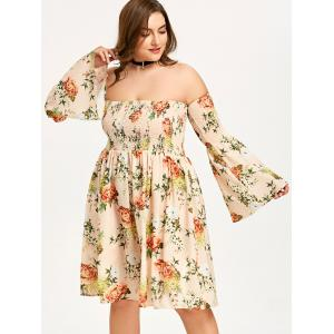 Plus Size Off The Shoulder Hawaiian Dress -