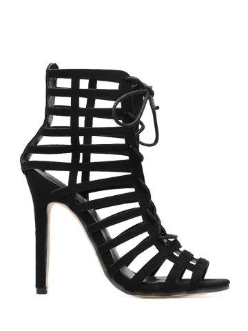 Cheap Lace Up High Heel Caged Sandals