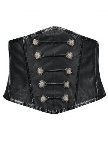Hot Buttoned Faux Leather Cincher Corset