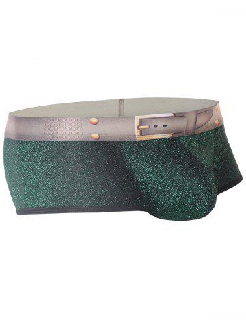 Unique Faux Belt Elastic Waist U Pouch Trunk