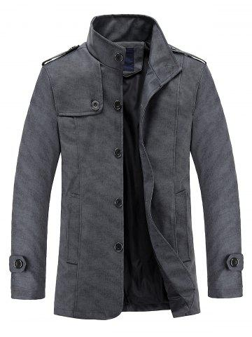 Store Stand Collar Epaulet Design PU Leather Jacket