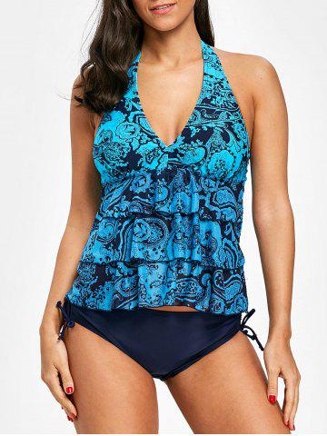 Affordable Tier Flounce Mesh Halter Tankini